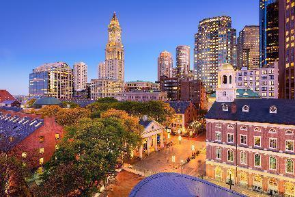 Boston, vista nocturna, massachusetts. EE.UU