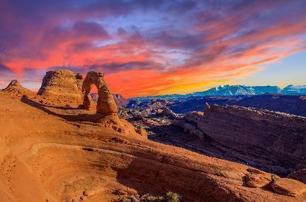 Arches National Park, vista al atardecer, EE.UU