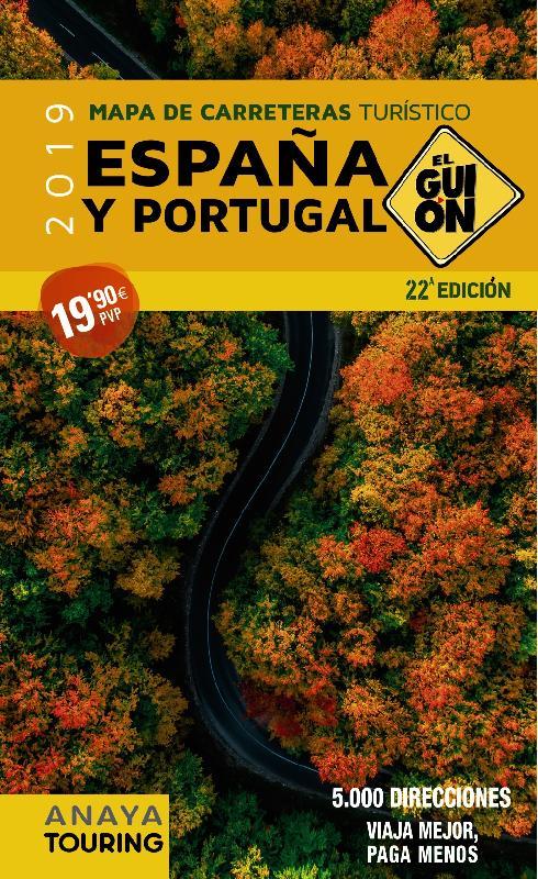 Mapa de carreteras de España y Portugal. El Guión